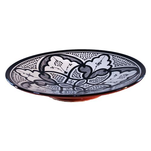 Verwonderend Marokkaans aardewerk zwart-wit bord rond 30cm | De Tagine WG-38