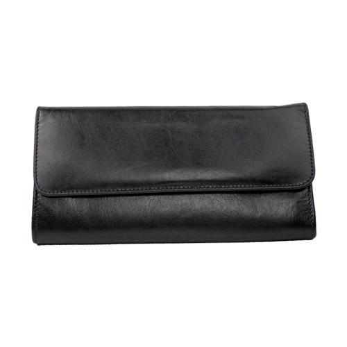 642ef2e5f6e Leren portemonnee zwart met vakken | De Tagine